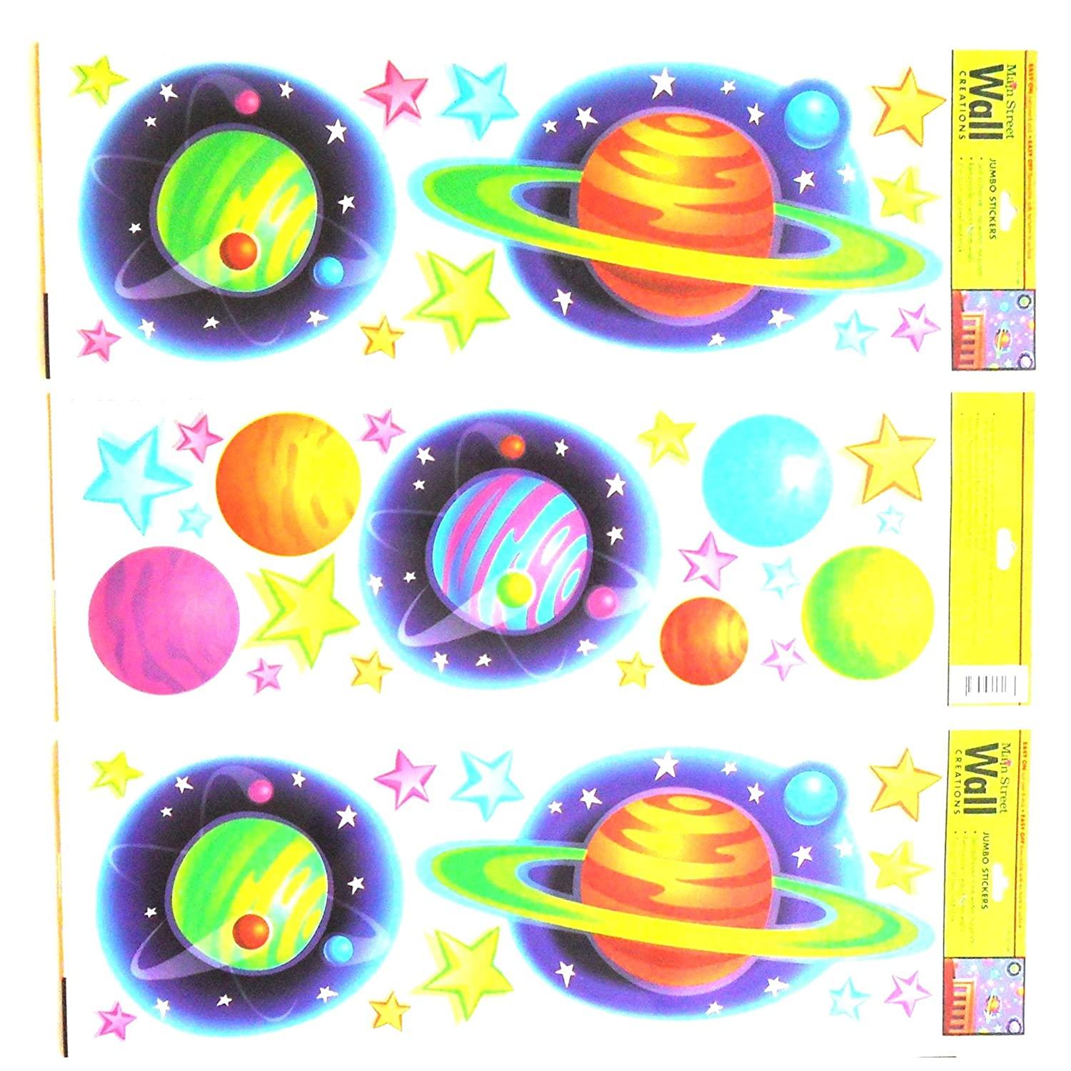 Wall Stickers for Kids or Adults Art Applique Set of 3 Colorful Planets Sticker Sets