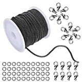 WXJ13 2.0mm Wide Black Open Link Cable Chain Curb Chain Link in Bulk for Necklace Jewelry Accessories DIY Making, 33 FT (Color: Black)