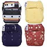 GroVia O.N.E. Reusable Baby Cloth Diaper - 4 Pack - Color Mix 4 (Color: Color Mix 4, Tamaño: One Size)