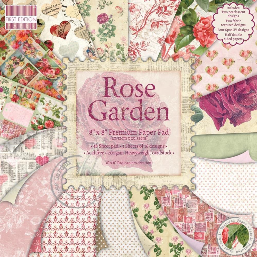 Trimcraft First Edition Rose Garden - Paquete de muestras de papel (20,3 x 20,3 cm), diseño de rosas   Más información y revisión del cliente