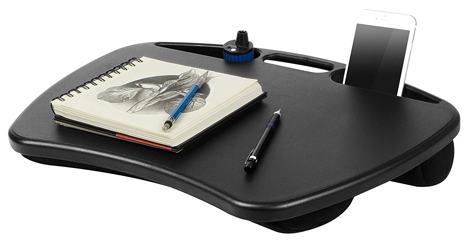 lapgear desk black computer lapdesk laptop micro bead lap pads keep cool 2 trays ebay. Black Bedroom Furniture Sets. Home Design Ideas