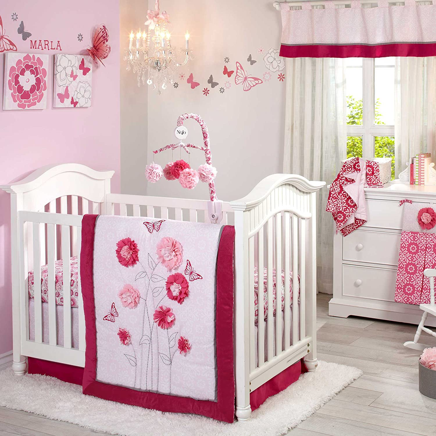 Nojo Butterfly Bouquet Crib Bedding