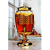 Circleware 68178 Lavish Glass Beverage Dispenser with Metal Stand and Lid Entertainment Kitchen Glassware Pitcher for Water, Juice, Wine, Kombucha & Cold Drinks, Huge 3 Gallon, Gold (Color: Gold, Tamaño: Huge 3 Gallon,)