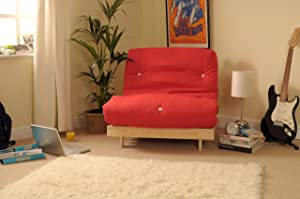 3ft (90cm) Single Wooden Futon with RED Mattress       Customer review