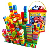 burgkidz Big Building Block Sets - 214 Pieces Toddler Educational Toy Classic Large Sizes Building Blocks Bricks - 13 Fun Shapes and Storage Bucket - Compatible with All Major Brands (Tamaño: 214 Pcs Building Blocks)