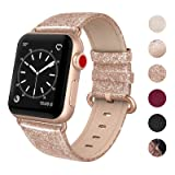 SWEES Leather Band Compatible Apple Watch 38mm 40mm, Genuine Leather Shiny Bling Glitter Strap Compatible Apple Watch Series 4 Series 3 Series 2 Series 1, Sports & Edition Women, Glistening Rose Gold (Color: 01. Glittering Rose Gold)