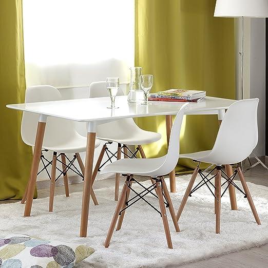 Conjunto de comedor TOWER-2 con mesa de 140x80 lacada blanca y 4 sillas Eames