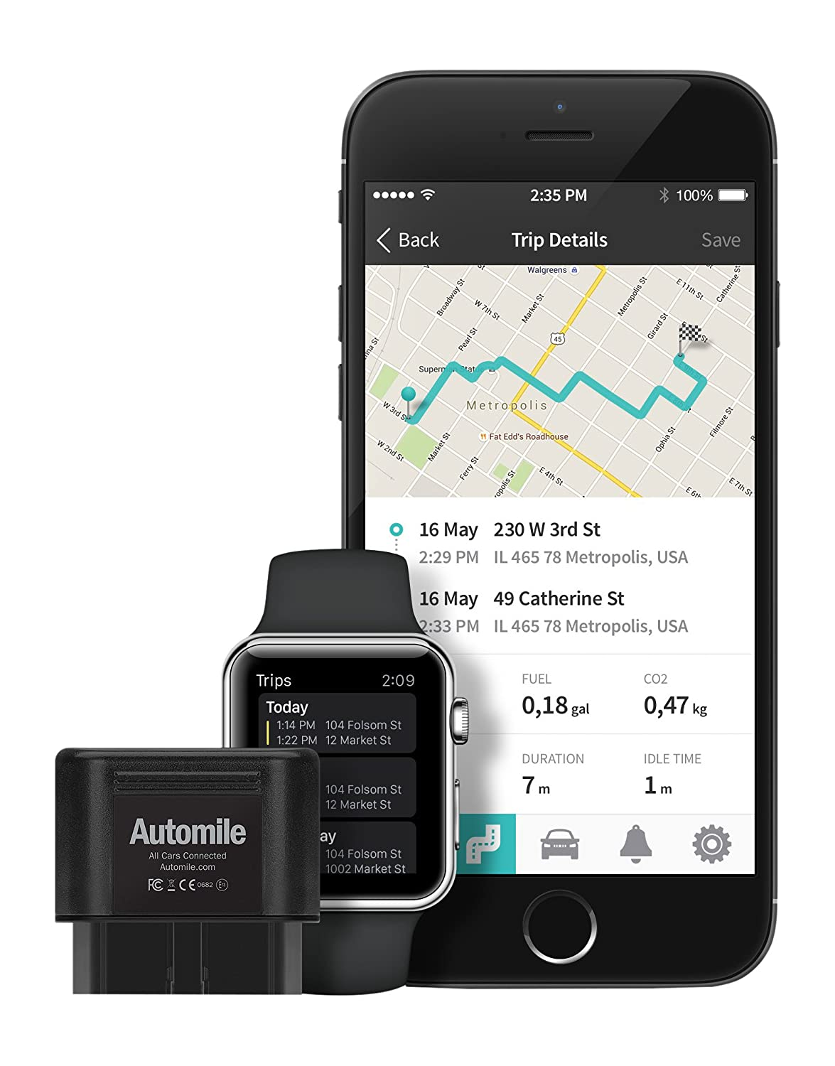 Automile Box: Wireless (GSM) GPS Tracker, Trip Log and Fleet Management