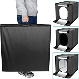 Neewer Portable Foldable Table Top Photo Studio Shooting Built-in 30x2 LED 5000K Cubic Diffusion Softbox-15.7x15.7 inches/40x40 Centimeters for Handheld Photography with Camera or Smartphone(US Plug) (Color: 40cm II)