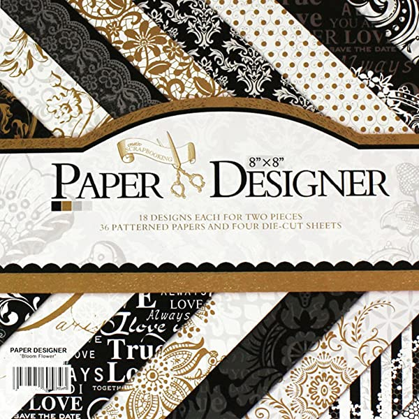 S&B 40 Sheets Vintage Scrapbook Paper Pad 8 x 8 Classic Origami Wrapping Book Craft DIY Card Making Damask Art Alphabet/Photo Frame Album Creative Handmade Decorative Die Cuts Background (Color: Black, Tamaño: 8 x 8)