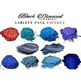 Variety Pack 15 (10 Colors) Mica Powder Pure, 2TONE Series Variety Pigment Packs (Epoxy,Paint,Color,Art) Black Diamond Pigments (Color: red, blue, purple)