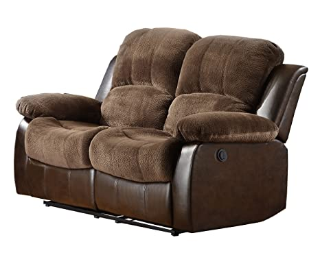 Homelegance 9700FCP-2PW Plushy Rolled Tufted Power Reclining Motion Microfiber  Love Seat, Brown
