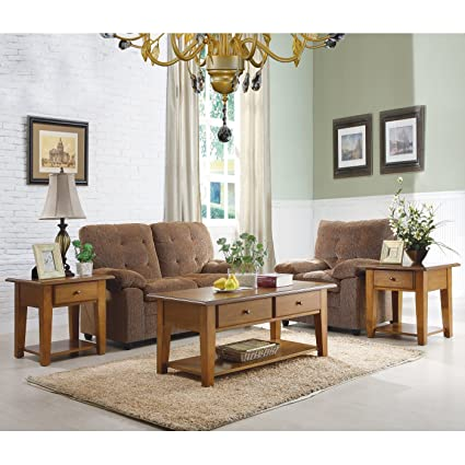 3pc Simone Coffee Table Set in Oak by Homelegance