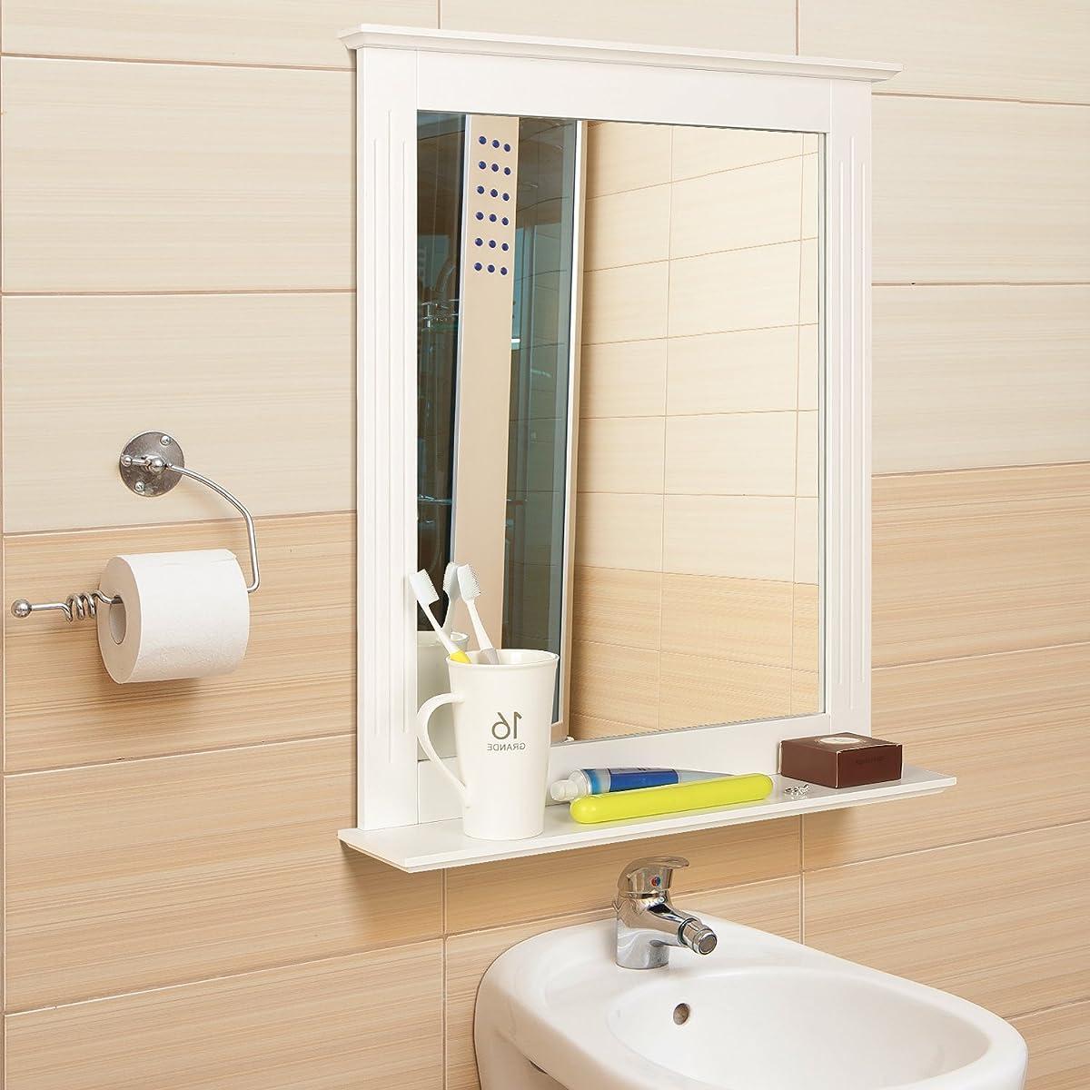 HOMFA Bathroom Wall Mirror Vanity Mirror Makeup Mirror Framed Mirror with Shelf for Home Multipurpose White