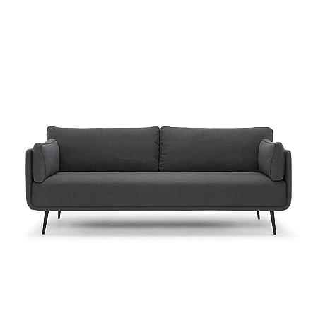 Scandinavian Design, Heaven canapé 3 places, tissu gris foncé, 202 x 83 x 92 cm