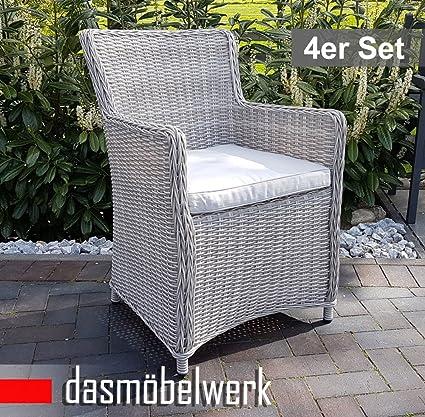 4er SET dasmöbelwerk Polyrattan Rattan Stuhl Relax Sessel Gartenmöbel Gartenstuhl LILIE Silbergrau + Kissen