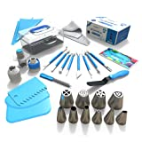 Frostinc Perfectly Assorted Cake Decorating Supplies 34 Pcs Kit - 10 Russian & Cone Icing Tips with 2 Couplers, 2 Reusable & 6 Disposable Piping Bags, 8 Model Tools, Scrapers & BONUS Items (Color: Blue)