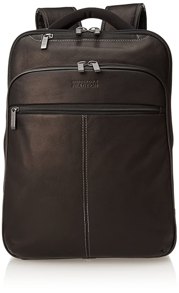 Kenneth Cole Reaction Back-Stage Access Slim Colombian Leather TSA Checkpoint-Friendly 16 Laptop & Tablet Travel Business Backpack, Black (Color: Black, Tamaño: One Size)