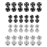 Sumind 80 Sets Metal Snaps Fasteners Press Studs Buttons Sew-on Snaps for Sewing, 8 mm and 10 mm, Silver and Gun-black