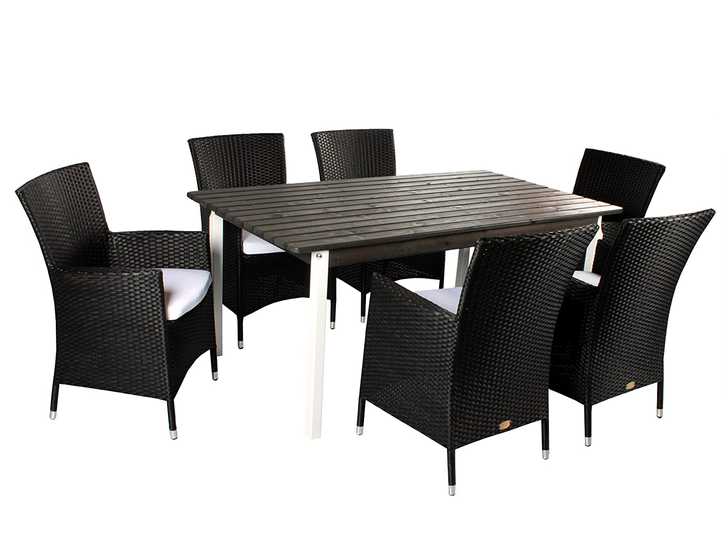 7tlg polyrattan holz sitzgruppe salento sessel und 160er tisch wei taupegrau sessel schwarz. Black Bedroom Furniture Sets. Home Design Ideas