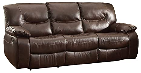 Homelegance 8406-3 Double Reclining Sofa, Dark Brown Bonded Leather Match