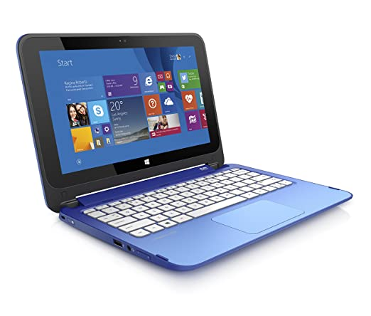 HP Stream 11.6-Inch Convertible 2 in 1 Touchscreen Laptop Intel Celeron, 2 GB, 32 GB SSD, Blue Includes Office 365 Personal for One Year- Free Upgrade to Windows 10
