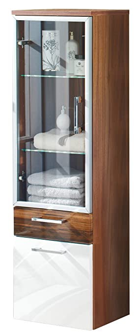 Posseik 5815 91 Tall Hanging Cabinet Walnut Decor, High Gloss White