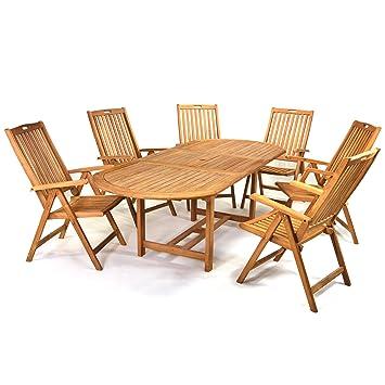 DIVERO Gartenmöbelset Sitzgruppe Teakholz Tisch 170/230 cm