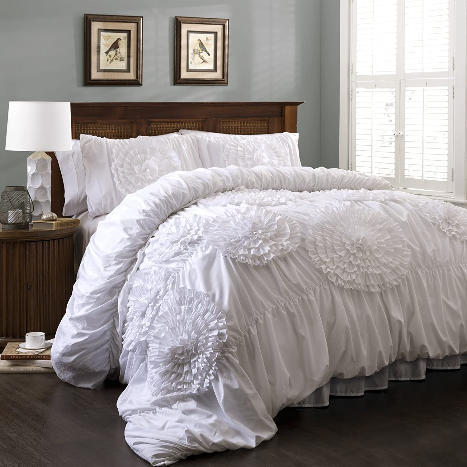 lush decor serena 3 piece comforter set queen white