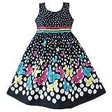 Sunny Fashion Girls Dress Navy Blue Butterfly Party Princess Size 11-12 (Color: Blue, Tamaño: 11-12)