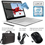 Microsoft Surface Book (128GB SSD, 8GB RAM, Intel 6th Gen Intel i5) + 15.6-Inch Microsoft Surface Carrying Case + 2.4G Wireless Portable Mobile Optical Mouse + Car Charger + DigitalAndMore Cloth