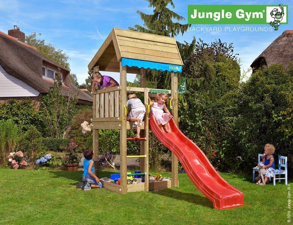 Spielturm Jungle Home Set mit 2,4 m Rutsche Sandkasten Kletterturm - Jungle Gym (inkl. Holzpaket), Apfelgrün