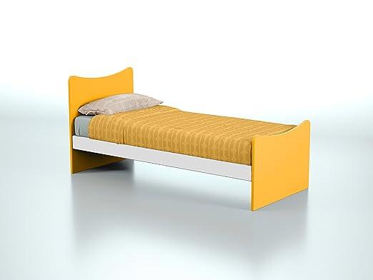 Struttura letto singolo in legno per bambini e ragazzi-Prodotto Made in Italy-Adatto a rete 190x80cm