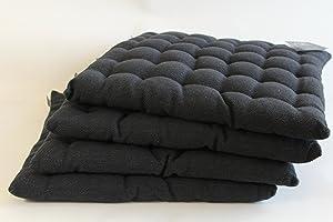 MinaWum 4er Set Sitzkissen von Linum, PEPPER H01 schwarz 40cm x 40cm x 4cm, Dekokissen, Kissen, Wohntextilien    Kundenbewertung und Beschreibung