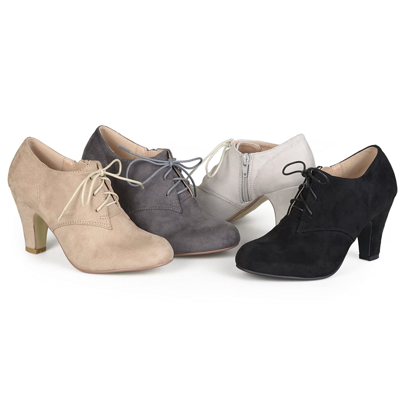 Brinley Co. Womens Vintage Round Toe High Heel Lace-up Faux Suede Booties 0