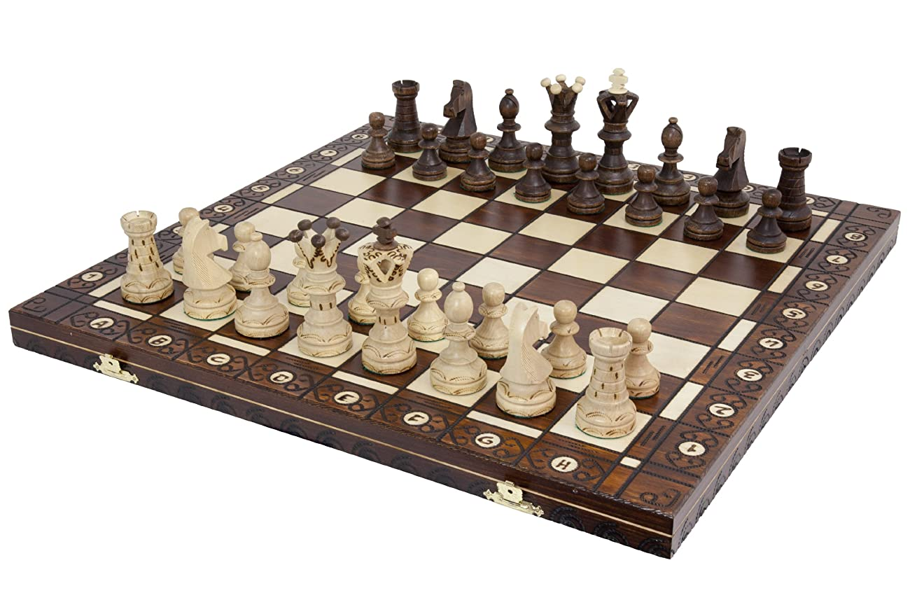 Ambassador Handmade Wooden Chess Set w/ 21 Inch Board and Detailed Chessmen 0
