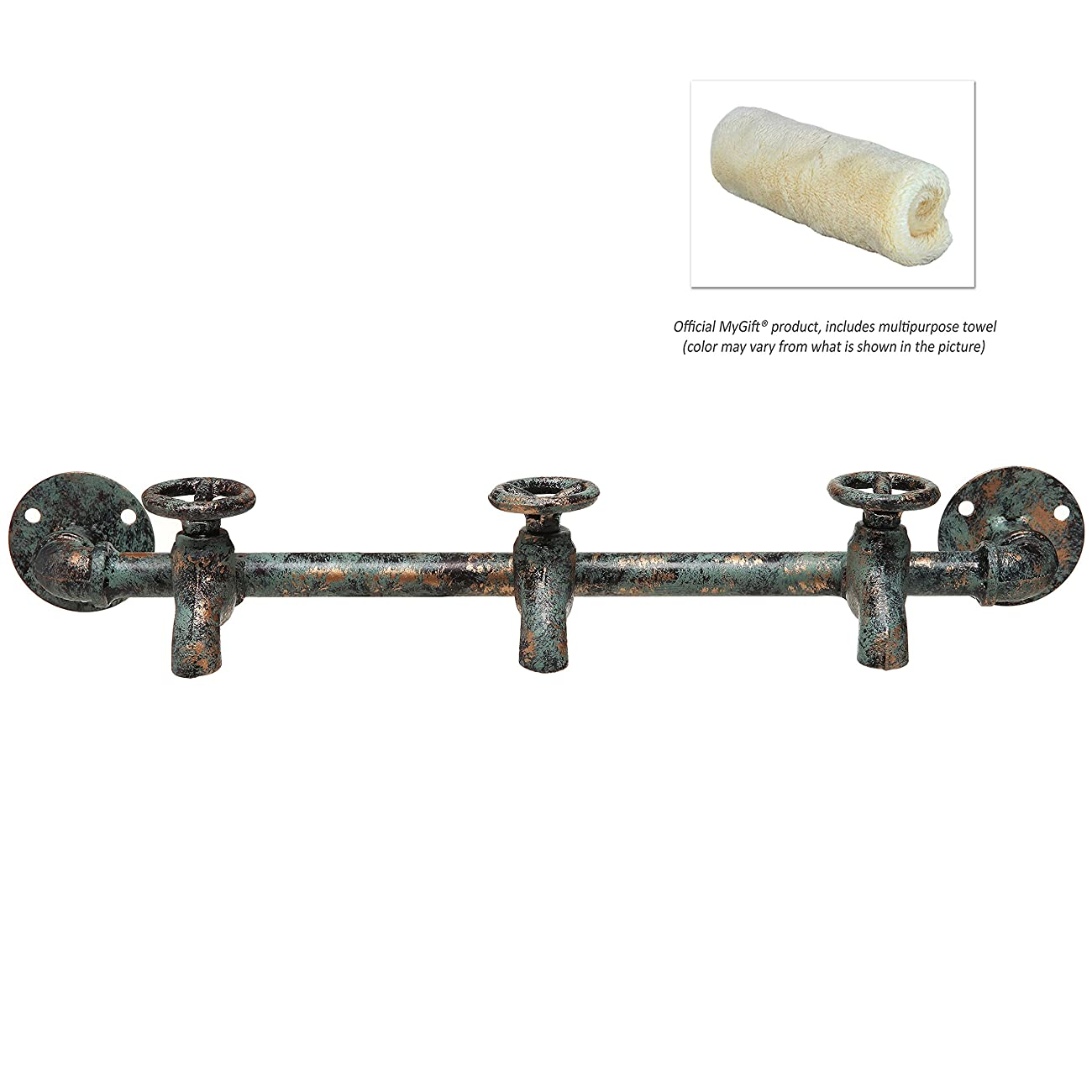 Rustic Industrial Faucet & Pipe Wall Mounted Iron Coat Hooks Garment Hanger / Towel Rack Bar - Turquoise 2