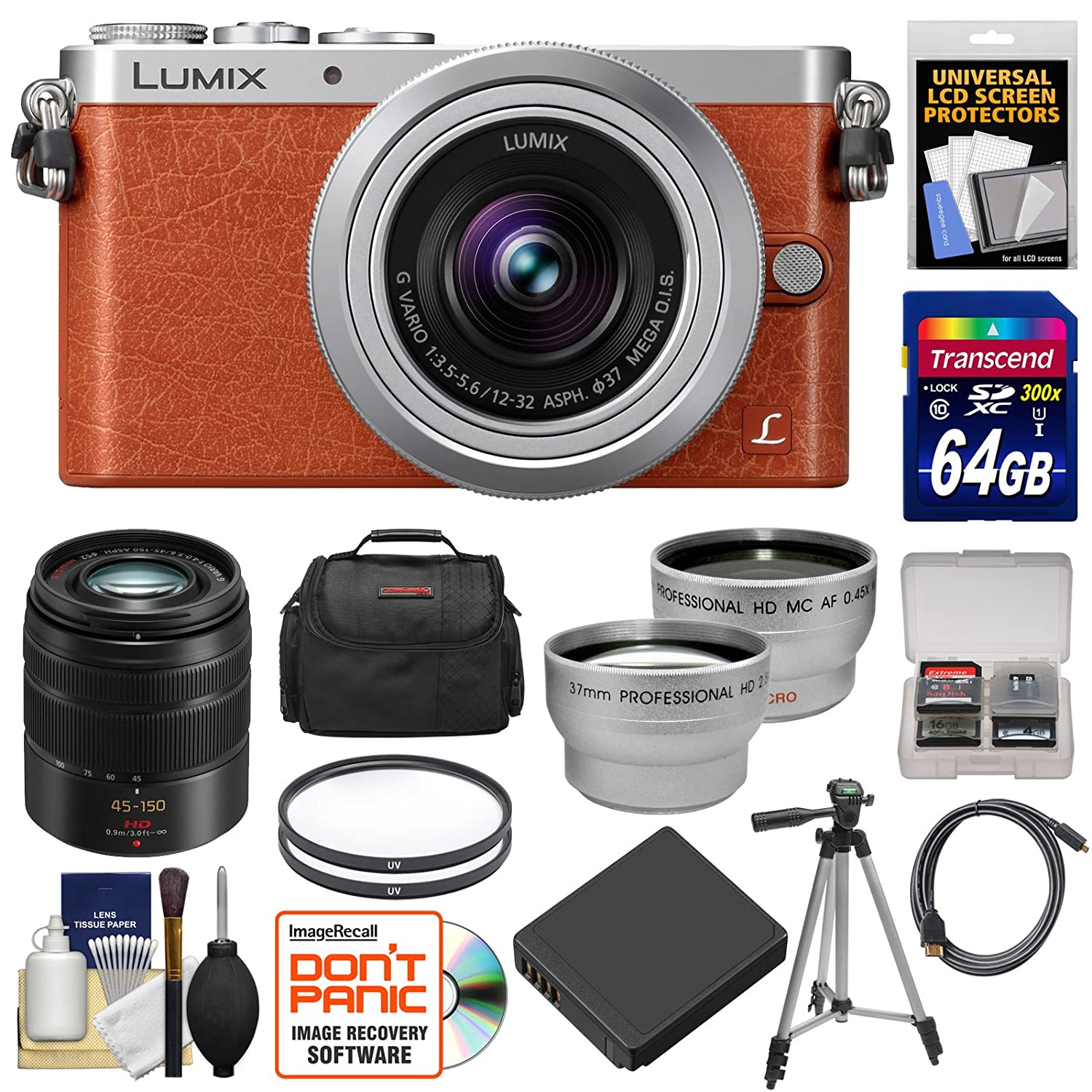 Panasonic Lumix DMC-GM1 Micro Four Thirds Digital Camera & 12-32mm Lens (Orange) with 45-150mm Lens + 64GB Card + Battery + Case + Filters + Tripod + Tele & Wide Lens Kit