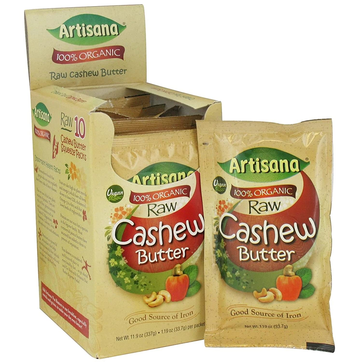 fast metabolism diet, Artisana Raw Organic Cashew Butter - 10.6 oz box (travel packs) by Artisana