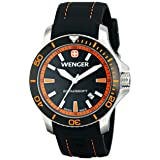 Wenger Men's 0641.102 Sea Force 3H Analog Display Swiss Quartz Black Watch (Color: Black Dial, Orange Accents, Black Silicone Strap, Tamaño: 43 Millimeter)