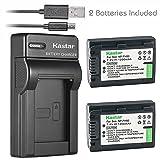 Kastar Battery (X2) & Slim USB Charger for Sony NP-FH50 NP-FH40 NP-FH30 NP-FP50 NP-FP51 and Sony A230 A290 A390 DSC-HX1 HX100 HX100V HX200 HX200V HDR-TG1E TG3 TG5 TG7 Camera (Tamaño: 1 Slim charger + 2 batteries)