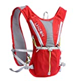 LANZON Hydration Pack (NO Bladder), Marathon Running Vest, Hiking Cycling Backpack - #1 Red