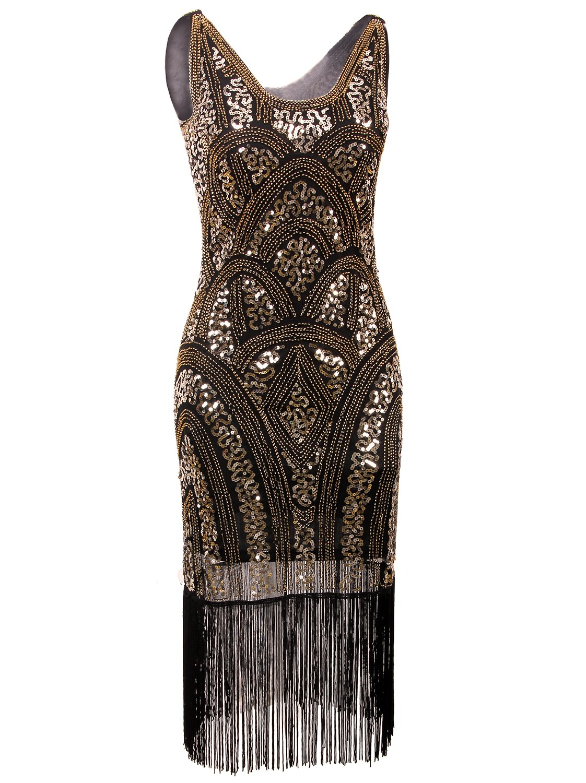 vijiv 1920s vintage inspired sequin embellished fringe. Black Bedroom Furniture Sets. Home Design Ideas