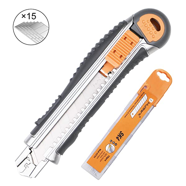 MulWark Heavy Duty Zinc-Alloy SK4 Snap-Off Easy Loading Retractable Razor Utility Knife Multi Box Cutter for Carpet, Rope, Cardboard,Drywall-15 Sharp Rust-Proof Blades Included with Metal Safety Lock (Color: Orange, Grey, Tamaño: 18mm wide blade)