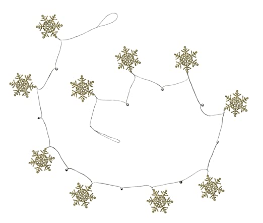 Silver Glittery Champagne Snowflake Garland