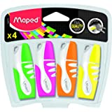 Maped Fluo Peps Mini Highlighter, Assorted Colors, Pack of 4 (742777) (Color: Green/Pink/Orange/Yellow)