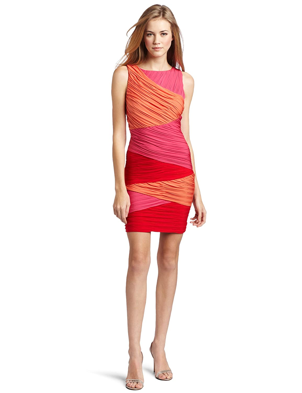 BCBGMAXAZRIA Women's Debra Colorblock Wrap Dress: