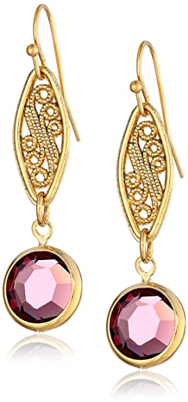 1928 Jewelry Gold-Tone Amethyst Purple Genuine Swarovski Crystal Drop Earrings -- $24