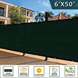 Shade&Beyond Net Fence Privacy Screen, 6'x50', Dark Green