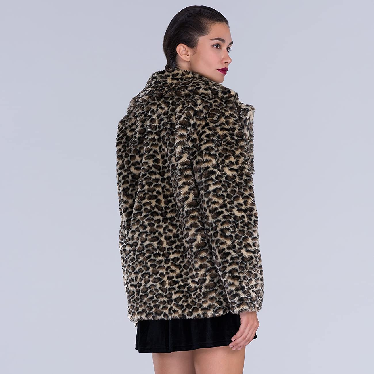 Choies Women Elegant Vintage Leopard Print Lapel Faux Fur Coat Fall Winter Outwear 2